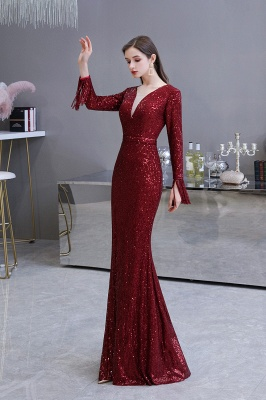 Evening dress red | Long glitter prom dresses with sleeves_23