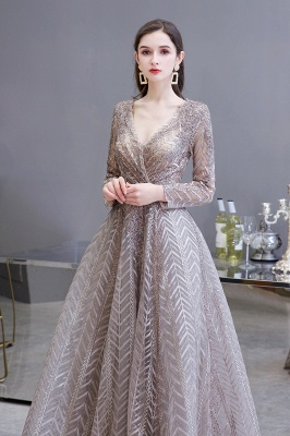 Luxury evening dresses long glitter | Prom dresses with sleeves_5