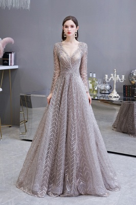 Luxury evening dresses long glitter | Prom dresses with sleeves_2