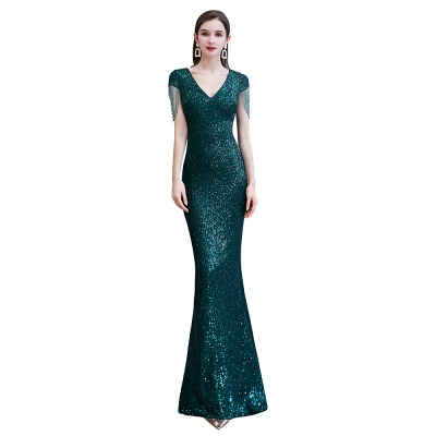 Elegant prom dresses long glitter | Evening dresses green_10