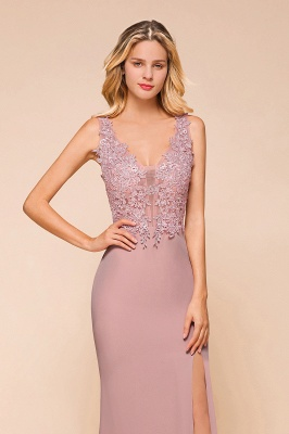 Evening dress long pink V neckline | Festive clothes_3