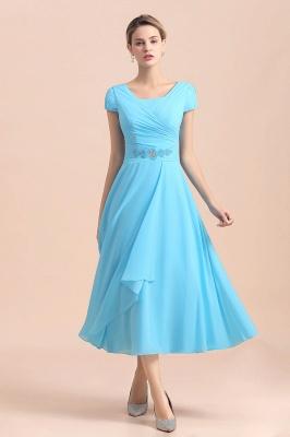 Günstige Brautmutterkleider Kurz Blau   Chiffon Kleider Günstig_7