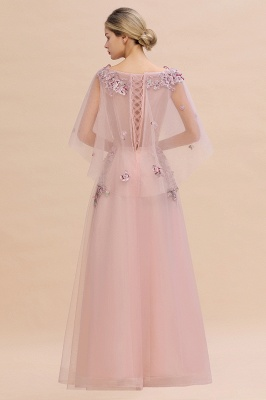 Evening dress long pink | Prom dresses with sleeves_12