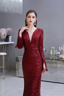 Evening dress red | Long glitter prom dresses with sleeves_14