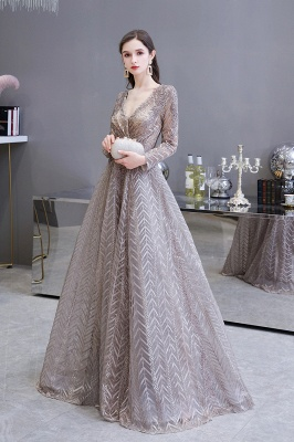 Luxury evening dresses long glitter | Prom dresses with sleeves_3