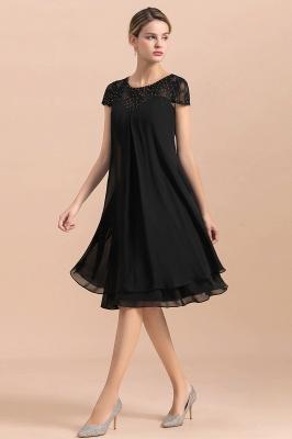 Schwarze Brautmutterkleider Kurz | Chiffon Kleider Für Brautmutter_6