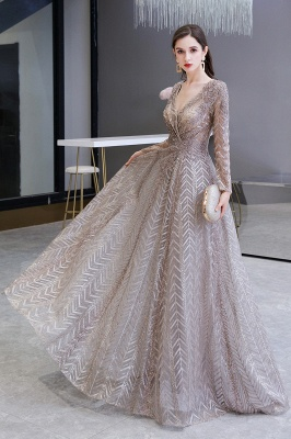 Luxury evening dresses long glitter | Prom dresses with sleeves_4