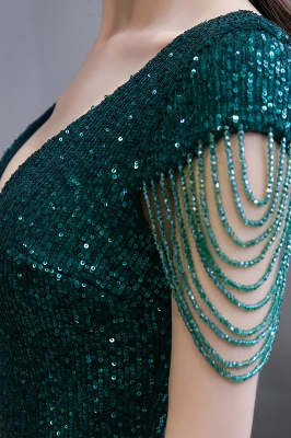 Elegant prom dresses long glitter | Evening dresses green_13