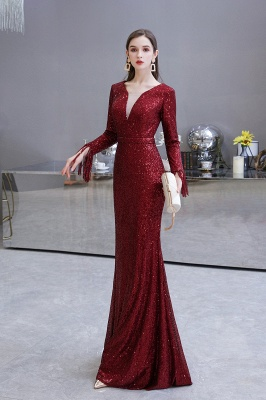 Evening dress red | Long glitter prom dresses with sleeves_25