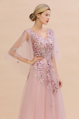 Evening dress long pink | Prom dresses with sleeves_5