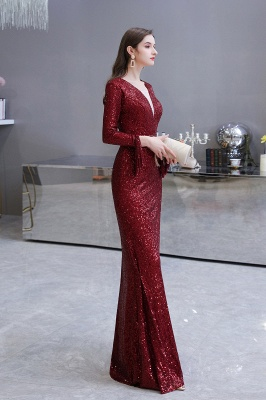Evening dress red | Long glitter prom dresses with sleeves_29