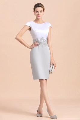2 Teilige Brautmutterkleider Kurz | Silber Brautmutterkleid Mit Jacket_11