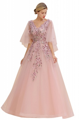 Evening dress long pink | Prom dresses with sleeves_8