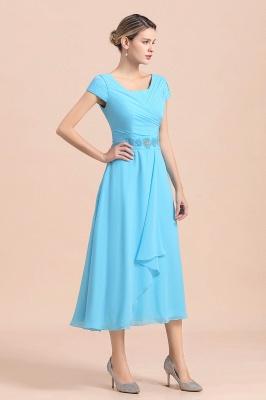 Günstige Brautmutterkleider Kurz Blau   Chiffon Kleider Günstig_5