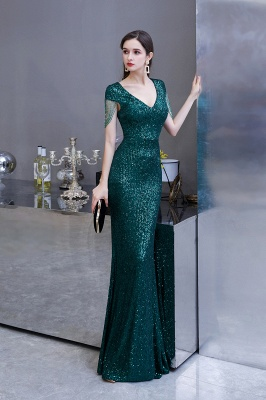 Elegant prom dresses long glitter | Evening dresses green_5