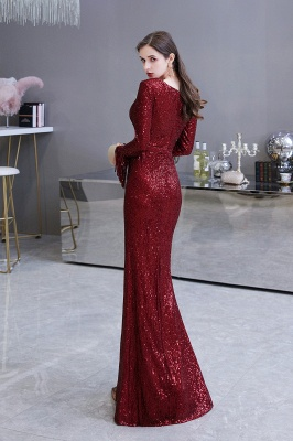Evening dress red | Long glitter prom dresses with sleeves_26