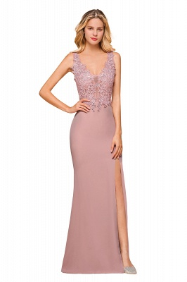 Evening dress long pink V neckline | Festive clothes_9