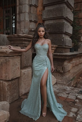 Mint Green Sweetheart Split Cheap Lace Long Prom Dresses_1