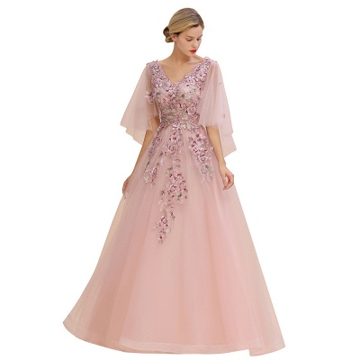 Evening dress long pink | Prom dresses with sleeves_3