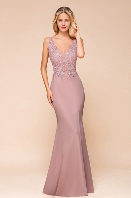 Evening dress long pink V neckline | Festive clothes_1