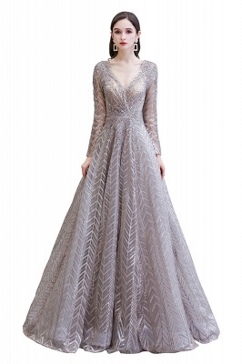 Luxury evening dresses long glitter | Prom dresses with sleeves_1