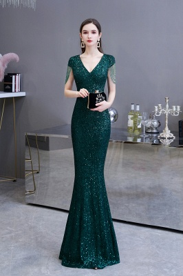 Elegant prom dresses long glitter | Evening dresses green_3