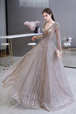 Luxury evening dresses long glitter | Prom dresses with sleeves_8
