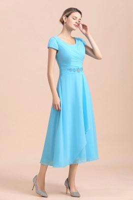 Günstige Brautmutterkleider Kurz Blau   Chiffon Kleider Günstig_4