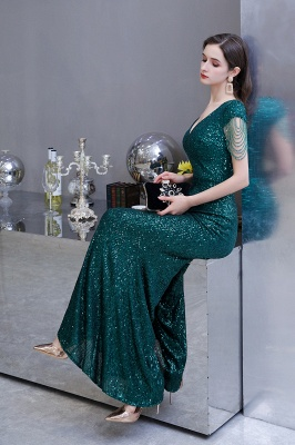 Elegant prom dresses long glitter | Evening dresses green_16