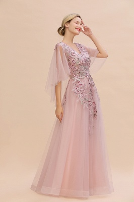 Evening dress long pink | Prom dresses with sleeves_4
