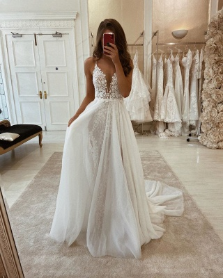 Sexy wedding dresses A line | Gorgeous wedding dress with lace_2