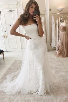 Brautkleider 2 Teille Weiß | Hochzeitskleider Spitze A Linie_1