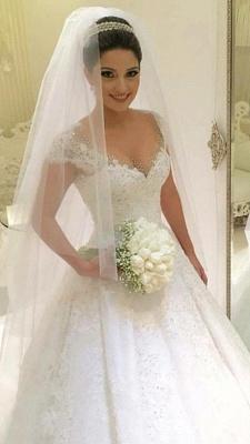 Modern Brautkleider Weiß MIt Spitze A Linie Perlen Tüll Brautmoden Hochzeitskleider_1