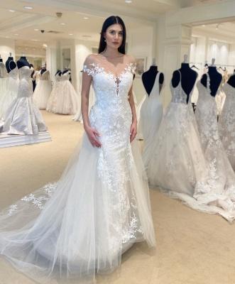Elegante Brautkleid Meerjungfrau | Günstig Hochzeitskleider mit Spitze_2