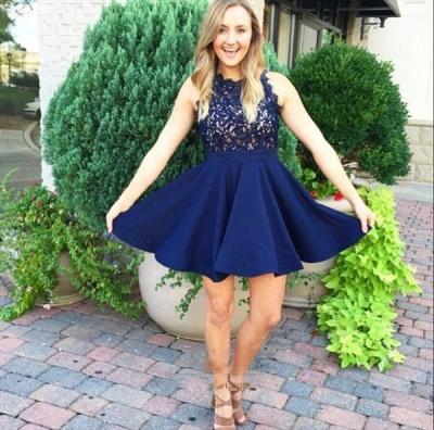 Short prom dresses royal blue lace chiffon A line evening wear prom dresses_2