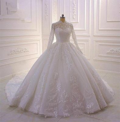 Prinzessin Hochzeitskleider mit Glitzer | Brautkleider Spitze Ärmel_2
