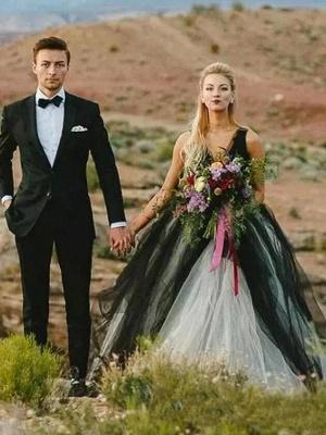 Brautkleid Schwarz | Prinzessin Hochzeitskleider mit Spitze
