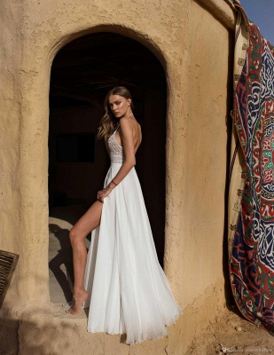 Schlichte Hochzeitskleid mit Spitze | Etuikleider Brautmoden Online_5