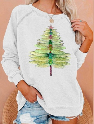 Dragonfly Christmas tree sweater green | Christmas sweater women_1