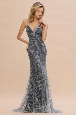 Silver evening dress with lace | Prom dresses long cheap_5