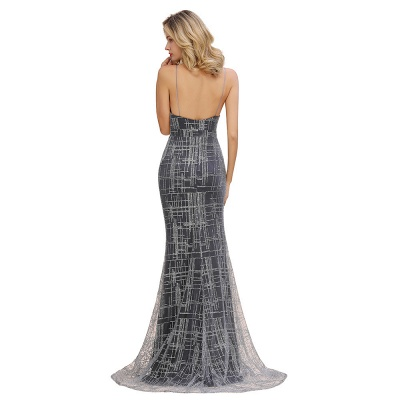 Silver evening dress with lace | Prom dresses long cheap_12