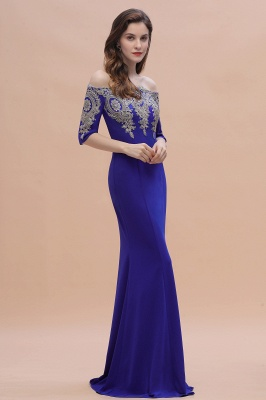 Designer Evening Dresses With Sleeves | King Blue Prom Dresses Long_9