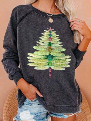 Dragonfly Christmas Tree Sweetshirt | Christmas sweater women green_2