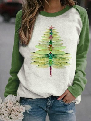 Sweatshirt dragonfly Christmas tree | Christmas sweater women_2