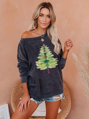 Dragonfly Christmas Tree Sweetshirt | Christmas sweater women green_4