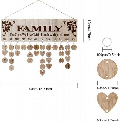 Gifts for Moms Dads - Wooden Family Birthday Reminder Calendar Board_12
