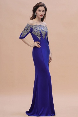 Designer Evening Dresses With Sleeves | King Blue Prom Dresses Long_7