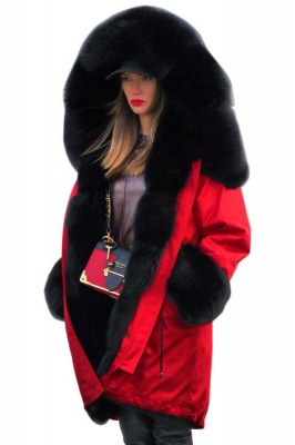 Rote Damen Mantel Lang Ärmel | Winter Fur Warmer Jacke_2