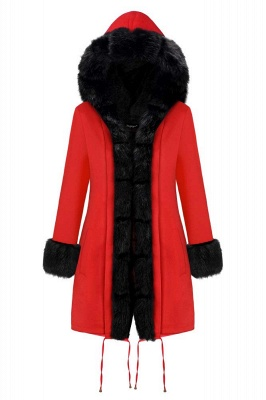Rote Damen Mantel Lang Ärmel | Winter Fur Warmer Jacke_3