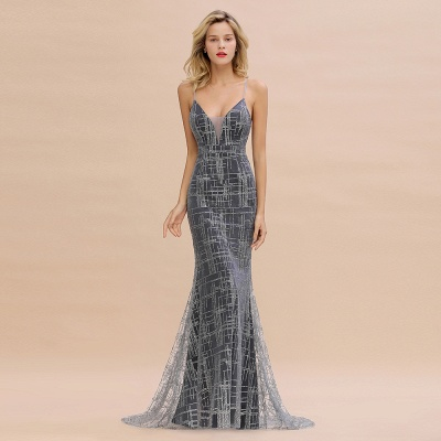 Silver evening dress with lace | Prom dresses long cheap_2